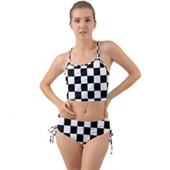 Chess Board Background Design Mini Tank Bikini Set