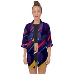 Colorful Abstract Background Open Front Chiffon Kimono