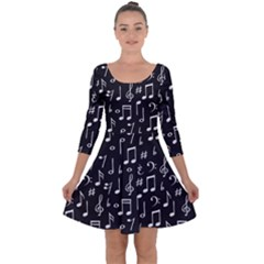 Chalk Music Notes Signs Seamless Pattern Quarter Sleeve Skater Dress