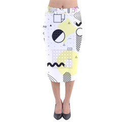 Graphic Design Geometric Background Velvet Midi Pencil Skirt