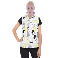 Graphic Design Geometric Background Women s Button Up Vest by Bejoart