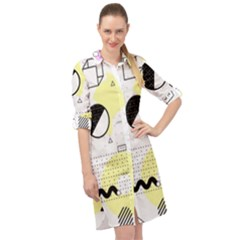 Graphic Design Geometric Background Long Sleeve Mini Shirt Dress