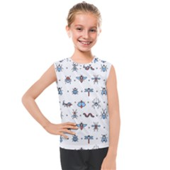Insects Icons Square Seamless Pattern Kids  Mesh Tank Top