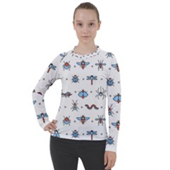 Insects Icons Square Seamless Pattern Women s Pique Long Sleeve Tee