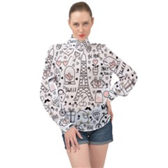 Big Collection With Hand Drawn Objects Valentines Day High Neck Long Sleeve Chiffon Top by Bejoart