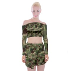 Abstract Vector Military Camouflage Background Off Shoulder Top With Mini Skirt Set by Bejoart