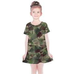 Abstract Vector Military Camouflage Background Kids  Simple Cotton Dress