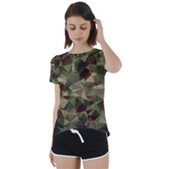 Abstract Vector Military Camouflage Background Short Sleeve Foldover Tee