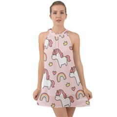 Cute Unicorn Rainbow Seamless Pattern Background Halter Tie Back Chiffon Dress