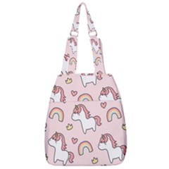 Cute Unicorn Rainbow Seamless Pattern Background Center Zip Backpack