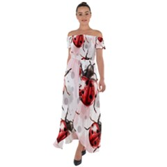 Ladybugs Pattern Texture Watercolor Off Shoulder Open Front Chiffon Dress