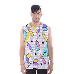 Tridimensional Pastel Shapes Background Memphis Style Men s Basketball Tank Top