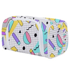 Tridimensional Pastel Shapes Background Memphis Style Toiletries Pouch