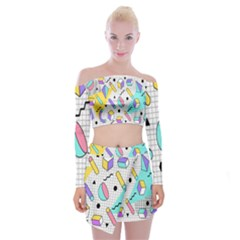 Tridimensional Pastel Shapes Background Memphis Style Off Shoulder Top With Mini Skirt Set