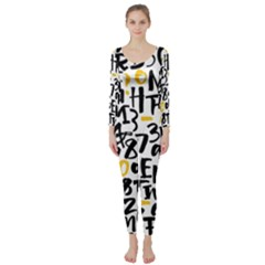 Letters Pattern Long Sleeve Catsuit