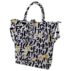 Letters Pattern Buckle Top Tote Bag