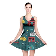 Seamless Pattern Hand Drawn With Vehicles Buildings Road Reversible Skater Dress