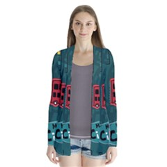 Seamless Pattern Hand Drawn With Vehicles Buildings Road Drape Collar Cardigan