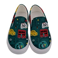 Seamless Pattern Hand Drawn With Vehicles Buildings Road Women s Canvas Slip Ons