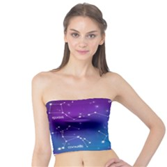 Realistic Night Sky Poster With Constellations Tube Top by Bejoart