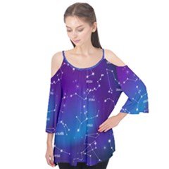 Realistic Night Sky Poster With Constellations Flutter Tees