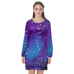 Realistic Night Sky Poster With Constellations Long Sleeve Chiffon Shift Dress