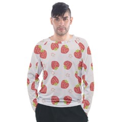 Strawberries Pattern Design Men s Long Sleeve Raglan Tee