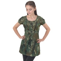 Camouflage Splatters Background Puff Sleeve Tunic Top by Bejoart