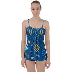 Flat Design Geometric Shapes Background Babydoll Tankini Set