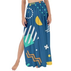 Flat Design Geometric Shapes Background Maxi Chiffon Tie-up Sarong