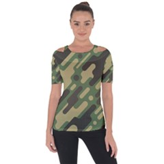 Camouflage Pattern Background Shoulder Cut Out Short Sleeve Top