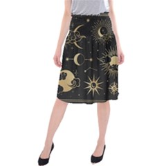 Asian Set With Clouds Moon Sun Stars Vector Collection Oriental Chinese Japanese Korean Style Midi Beach Skirt by Bejoart