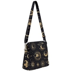 Asian Set With Clouds Moon Sun Stars Vector Collection Oriental Chinese Japanese Korean Style Zipper Messenger Bag by Bejoart
