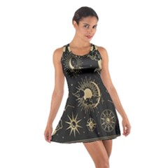 Asian Set With Clouds Moon Sun Stars Vector Collection Oriental Chinese Japanese Korean Style Cotton Racerback Dress