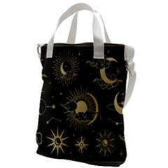 Asian Set With Clouds Moon Sun Stars Vector Collection Oriental Chinese Japanese Korean Style Canvas Messenger Bag by Bejoart