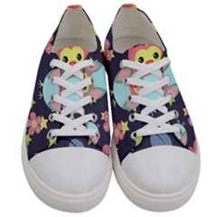 Owl Stars Pattern Background Women s Low Top Canvas Sneakers