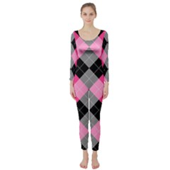 Seamless Argyle Pattern Long Sleeve Catsuit by Bejoart