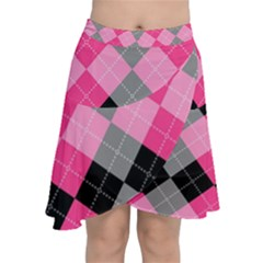 Seamless Argyle Pattern Chiffon Wrap Front Skirt