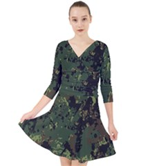 Military Background Grunge  Quarter Sleeve Front Wrap Dress