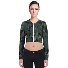 Military Background Grunge  Long Sleeve Zip Up Bomber Jacket