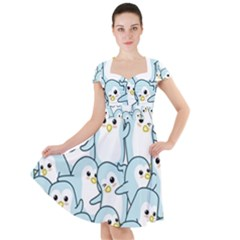 Penguins Pattern Cap Sleeve Midi Dress by Bejoart