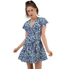 Blue Shells Flutter Sleeve Wrap Dress by treegold