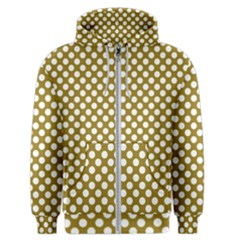 Gold Polka Dots Patterm, Retro Style Dotted Pattern, Classic White Circles Men s Zipper Hoodie by Casemiro