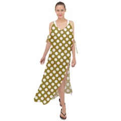 Gold Polka Dots Patterm, Retro Style Dotted Pattern, Classic White Circles Maxi Chiffon Cover Up Dress by Casemiro