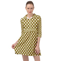 Gold Polka Dots Patterm, Retro Style Dotted Pattern, Classic White Circles Mini Skater Shirt Dress by Casemiro