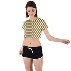 Gold Polka Dots Patterm, Retro Style Dotted Pattern, Classic White Circles Tie Back Short Sleeve Crop Tee by Casemiro
