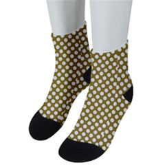 Gold Polka Dots Patterm, Retro Style Dotted Pattern, Classic White Circles Men s Low Cut Socks