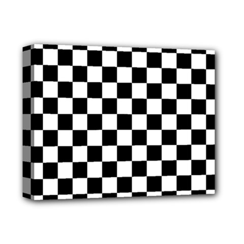 Black And White Chessboard Pattern, Classic, Tiled, Chess Like Theme Deluxe Canvas 14  X 11  (stretched)