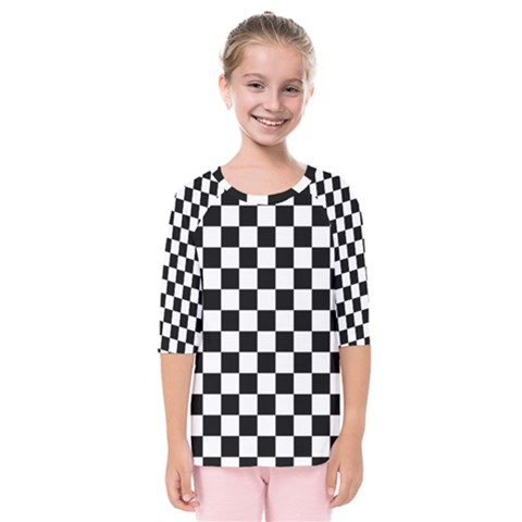 Black And White Chessboard Pattern, Classic, Tiled, Chess Like Theme Kids  Quarter Sleeve Raglan Tee by Casemiro