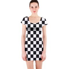 Black And White Chessboard Pattern, Classic, Tiled, Chess Like Theme Short Sleeve Bodycon Dress